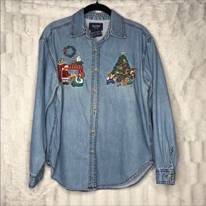 Vintage Christmas Embroidered Jean Button Down